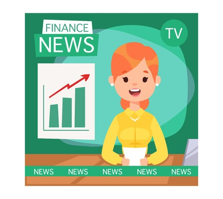 newsreader: Vector Illustration anchorman breaking news and tv screen layout. Professional interview newsreader breaking news anchor. Communication broadcast newscaster breaking news anchor journalist. Illustration