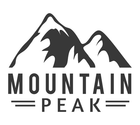 mountain silhouette: Mountain vector icon badge. Mountain silhouette elements. Outdoor icon snow ice mountain tops, decorative symbols isolated. Camping mountain logo, travel label, climbing or hiking badge