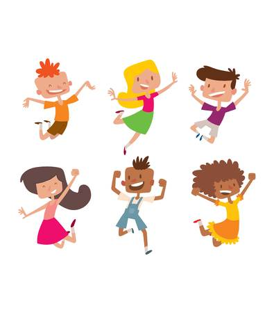 cheerful cartoon: Happy children in different positions big vector collection. Jumping cheerful child group and funny cartoon kids joyful team. Laughing little people joy lifestyle characters.