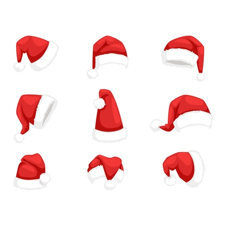 Just red christmas santa hat at white background. Cold x-mas symbol fluffy santa christmas hat. Winter white fluffy fur holiday santa christmas hat traditional snow fuzzy accessory. Illustration