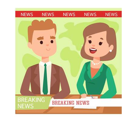 announcer: Vector Illustration anchorman breaking news and tv screen layout. Professional interview newsreader breaking news anchor. Communication broadcast newscaster breaking news anchor journalist. Illustration