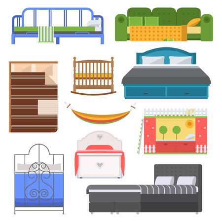 bunk bed: Exclusive sleeping furniture design bedroom with aerial view. Sleeping furniture bed, interior, room vector illustration. Vector comfortable sleeping furniture home bed interior room.