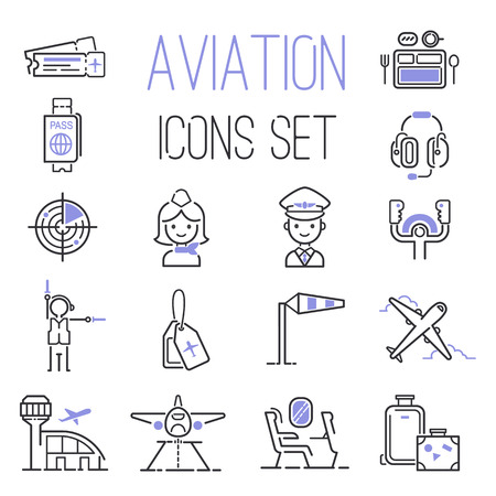 Aviation icons vector set airline graphic illustration. Vector flight airport transportation aviation icons passenger design set. Aviation icons departure cargo world luggage boarding aircraft. Illustration