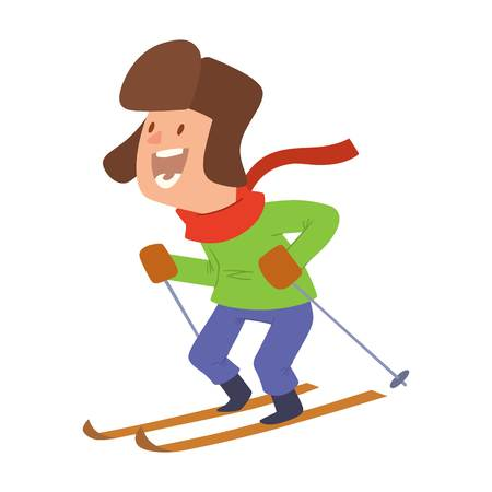 merry chrismas: Christmas boy playing winter games. skiing. Cartoon New Year winter holidays background. Illustration