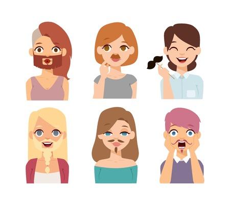 transexual: emoción niñas se enfrenta ilustración vectorial de dibujos animados. Barba y bigotes divertidos Omán iconos emoji cara y cara de la mujer emoji símbolos lindo. emoji mujer cara feliz. Las diferentes naciones caras transexuales