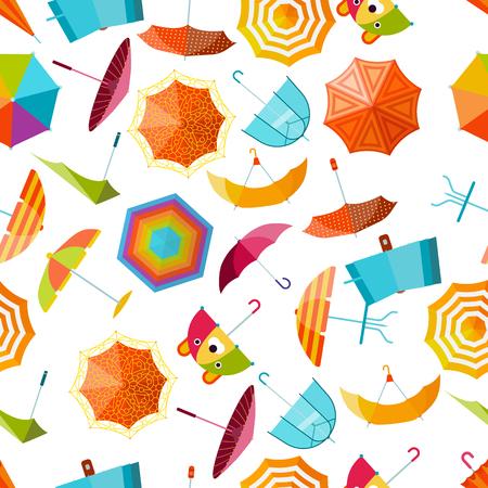 Cute multi colored umbrella seamless pattern flat design style. Autumn accessory concept fashion umbrella.