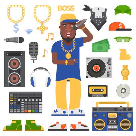 black rapper: Hip hop man musician with microphone breakdance expressive rap portrait. Modern young hip hop man fashion person adult people. Hip hop man dancer trendy lifestyle urban handsome black rapper guy.