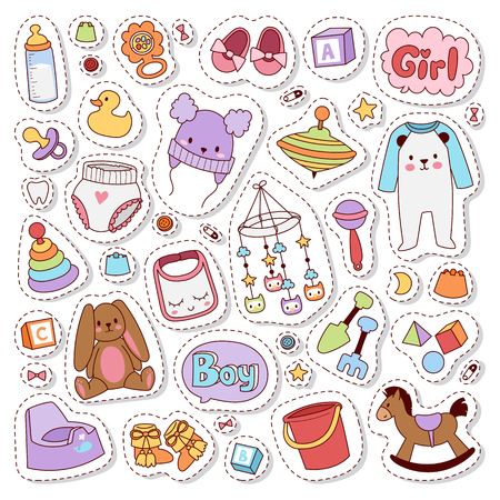 baby stickers: Patch badges with toys, speech bubbles, unicorn, cloth and other elements. Vector illustration baby stickers badge isolated. Set of baby stickers, pins, patches in cartoon comic style.