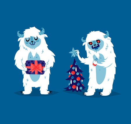 big foot: Cute yeti biigfoot monsters vector set.. Color winter character funny design element. Humour emoticon fantasy monsters unique expression sticker isolated. Fantasy mascot crazy animal