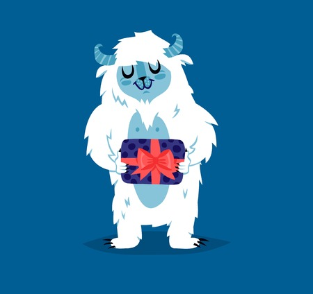 Cute yeti bigfoot monster vector set. Color winter character funny design element. Humour emoticon fantasy monster unique expression sticker isolated. Fantasy mascot crazy animal Illustration
