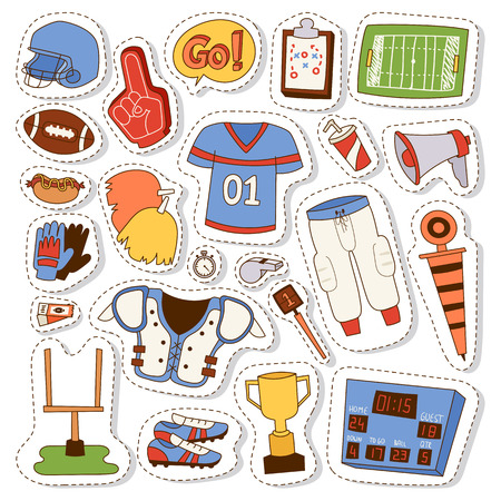 Football game sport icons vector design goal league set. American football icons vector sport ball design graphic activity team elements. American football icons hand drawn doodle patches. Illustration