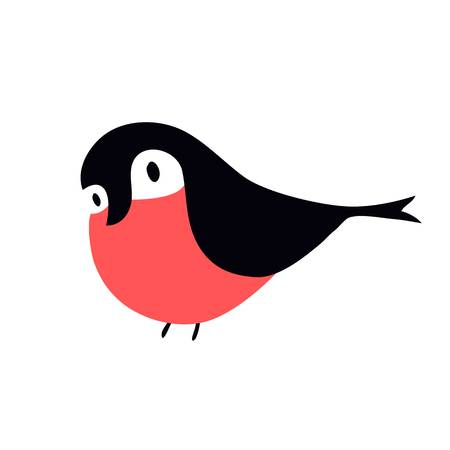 common cold: Cartoon bullfinch and winter bullfinch bird. Season bullfinch holiday christmas wild bird. Flat colorful winter nature bird. Bullfinch colorful nature winter bird pyrrhula holiday wild animal vector.