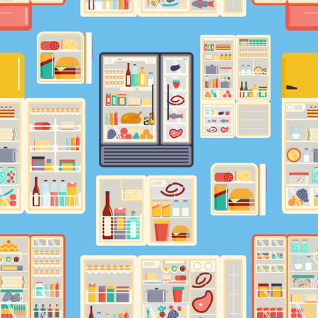 Illustration of open refrigerator products with food, drinks and kitchenware. Appliance food kitchen fruit freezer open refrigerator products. Seamless pattern Vetores