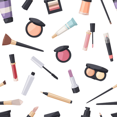 eyeshadow: Makeup icons perfume seamless pattern mascara care brushes and makeup comb faced eyeshadow. Makeup glamour accessory. Vector set make up brushes and beauty fashion cosmetic icon. Illustration