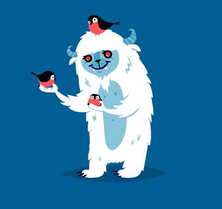 big foot: Cute yeti bigfoot monster vector set. Color winter character funny design element. Humour emoticon fantasy monster unique expression sticker isolated. Fantasy mascot crazy animal Illustration