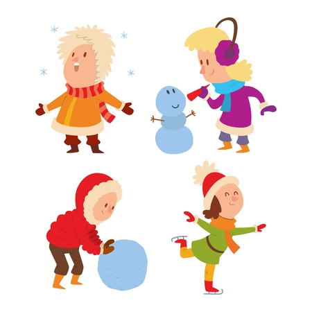 baby playing toy: Christmas kids playing winter games. Skating, girl dresses up Christmas tree, boy makes a snow man, children playing snowballs. Cartoon New Year winter holidays background.