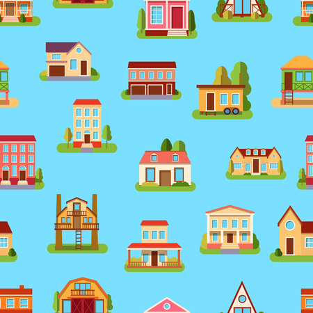 housing project: Houses front view vector illustration flat style modern constructions seamless pattern Illustration