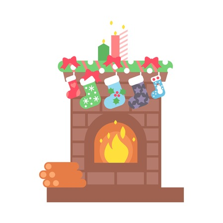 woodpile: Fireplace christmas icon design. House room warm christmas silhouette. Flame bright decoration coal furnace. Comfortable warmth place home interior winter holidays. Illustration