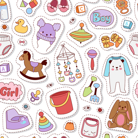 Baby icons set vector cartoon family toys sign seamless pattern. Baby symbols design cute boy and girl toys set childhood art. Child symbols diaper drawing graphic love rattle fun pattern.