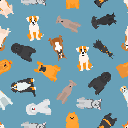 Vector illustration of different dogs breed isolated seamless pattern background. Flat dogs breed vector icon illustration
