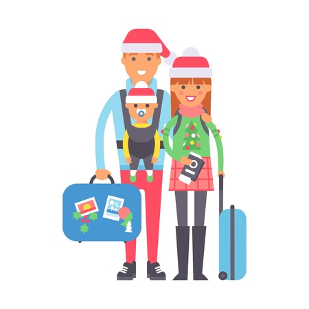 return trip: Travel couple standing with suitcases ready to travel, people travel concept. Vector vacation family character summer tourism. Family with baggage and passport. Traveler person tourism with bag.