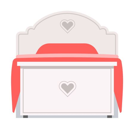 bedding: Exclusive sleeping bed furniture design bedroom fashionable bunk. Interior banknet room vector illustration. Comfortable relaxation home room with bedding. Illustration
