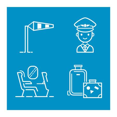 passenger airline: Aviation icons vector set airline graphic illustration. Vector flight airport transportation passenger aircraft design set. Departure air cargo world luggage boarding aircraft. Illustration