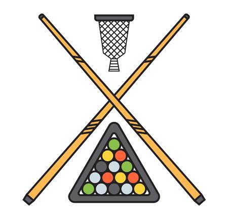cue ball: Snooker cue billiard sticks cartoon flat vector illustration on white background or play game wooden tool. Classic vintage club sport equipment gambling. Illustration