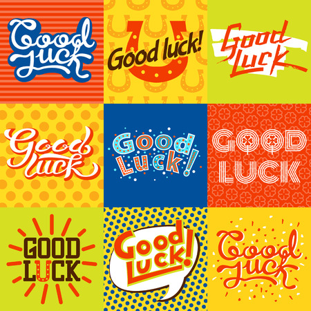 luckiness: Good luck text farewell card. Vector lettering with lucky phrase background greeting typography. Vintage word decorative symbol inscription expression banner. Illustration