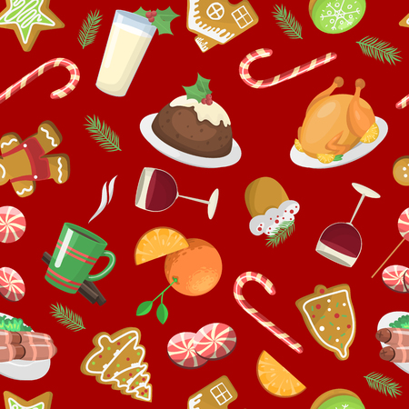 Sweet Christmas seamless pattern cake cookie isolated on white. Traditional holiday vector food for New Year. Vintage happy textile drawing with delicious elements. Illustration