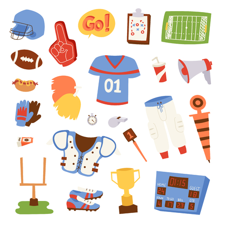 Football game sport icons vector design goal league set. Sport icons vector sport ball design graphic activity team elements. Hhand drawn doodle patches Illustration