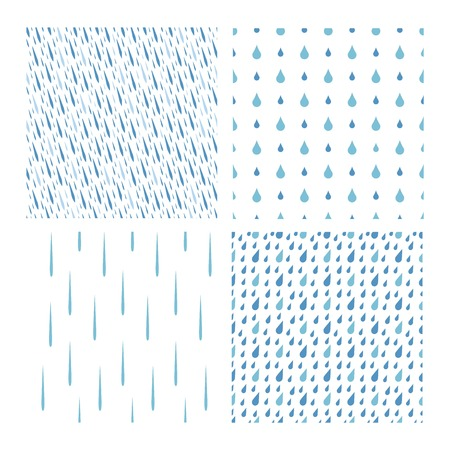 Rain drops seamless colorful pattern background vector set . Nature raindrop abstract stylish weather design. Graphic blue water wallpaper texture backdrop.