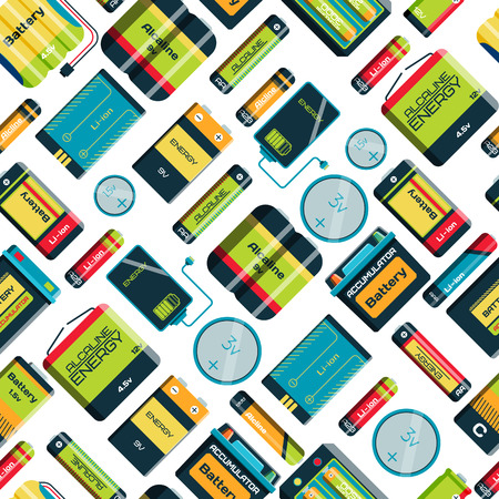 alkaline: Different batteries seamless pattern background vector isolated