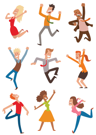 People jumping in celebration party vector illustration. Happy man jump celebration joy character. Cheerful woman active happiness expression vector set. Many joyful friends portrait. Illustration