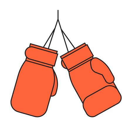 kickboxing: Pair of red leather boxing gloves isolated on white punch equipment protection. Fight competition training sportswear. Cmbative kickboxing wear vector.