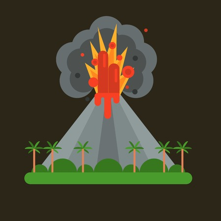 crater: Volcano magma nature blowing up with smoke vector isolated. Crater mountain hot natural eruption earthquake. Erupt ash fire hill landscape outdoor geology exploding ash.