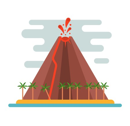 magma: Volcano magma nature blowing up with smoke vector isolated. Crater mountain hot natural eruption earthquake. Erupt ash fire hill landscape outdoor geology exploding ash.