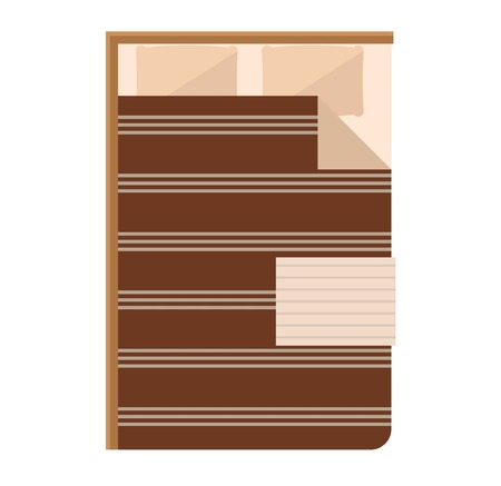 bunk: Exclusive sleeping bed furniture design bedroom fashionable bunk. Interior banknet room vector illustration. Comfortable relaxation home room with bedding. Illustration