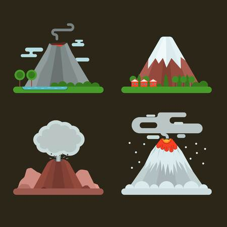 magma: Volcano magma nature blowing up set with smoke vector isolated. Crater mountain hot natural eruption earthquake. Erupt ash fire hill landscape outdoor geology exploding ash. Illustration
