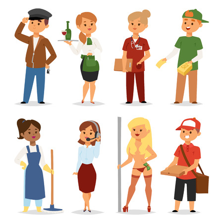 staffing: Temporary job professions recruitment concept on white background. Different people work or time unemployed. Business career search workers opportunity looking vector human characters.