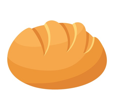 Bread isolated on white background. Vector food fresh tasty breakfast loaf wheat and diet crust natural eat fresh bake. Health meal baker french delicious.  イラスト・ベクター素材