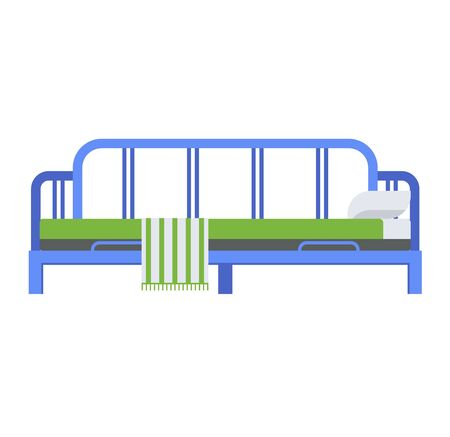 bunk bed: Exclusive sleeping bed furniture design bedroom fashionable bunk. Interior banknet room vector illustration. Comfortable relaxation home room with bedding. Illustration