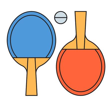 Table tennis vector illustration. Ping pong game activity equipment isolated on white background. Indoor fun recreation championship fitness handle sporting tools.