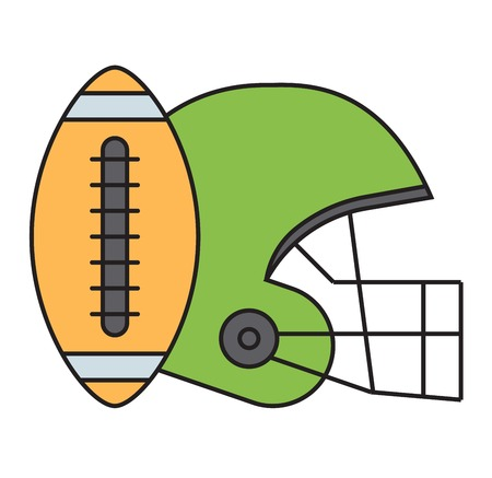 floodlit: American football action tools isolated on white. Sport athlete uniform helmet vector icon. Winning quarterback professional competition sports equipment.