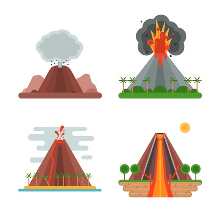Volcano magma nature blowing up set with smoke vector isolated. Crater mountain hot natural eruption earthquake. Erupt ash fire hill landscape outdoor geology exploding ash. Stock Illustratie