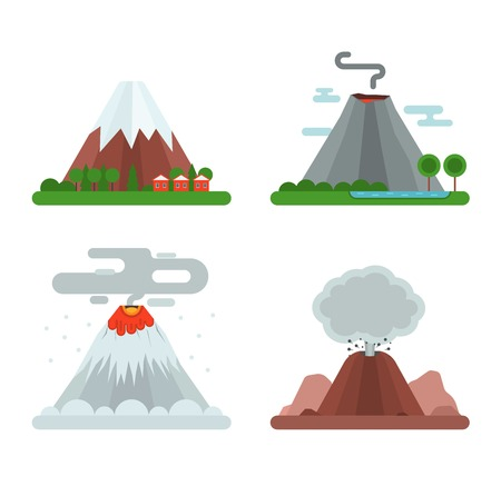 Volcano magma nature blowing up set with smoke vector isolated. Crater mountain hot natural eruption earthquake. Erupt ash fire hill landscape outdoor geology exploding ash. Illustration
