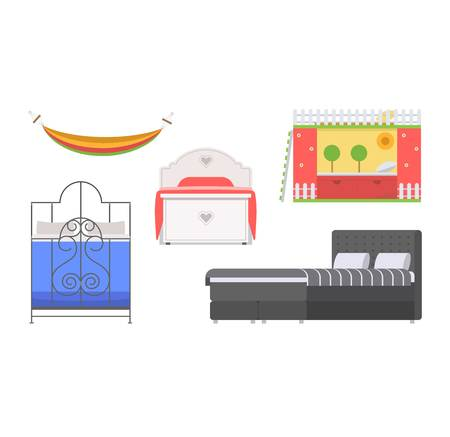 Vector bed icon set interior home rest. Double romantic travel motel collection sleep furniture icon. House bedroom or hostel bedtime modern service relaxation. 向量圖像