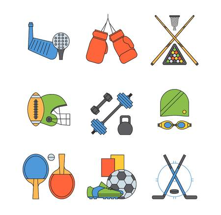 swimming cap: Set of sport icons in flat design sign. Different game collection pictogram icon symbol. Trophy competition dumbbell fitness activity. Training body gym physical equipment.