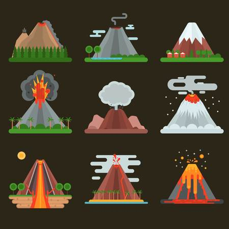 crater: Volcano magma nature blowing up set with smoke vector isolated. Crater mountain hot natural eruption earthquake. Erupt ash fire hill landscape outdoor geology exploding ash. Illustration