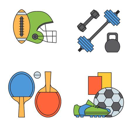 Set of sport icons in flat design sign. Different game collection pictogram icon symbol. Trophy competition dumbbell fitness activity. Training body gym physical equipment.